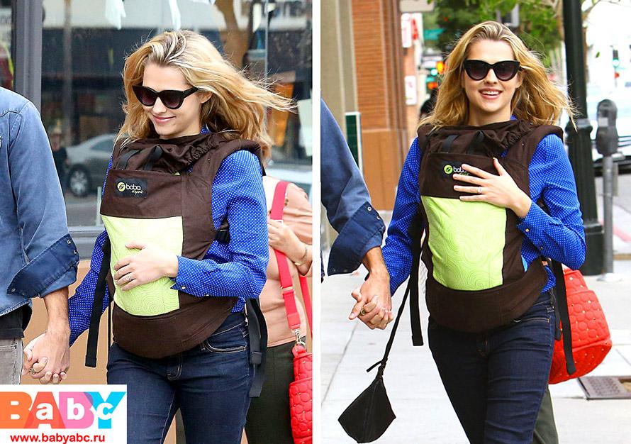 Тереза Палмер носит своего кроху в эрго-рюкзаке Boba Carrier